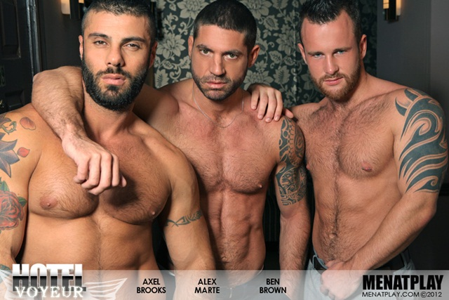 Alex Marte, Ben Brown and Axel Brooks in Hotel Voyeur at Men at Play