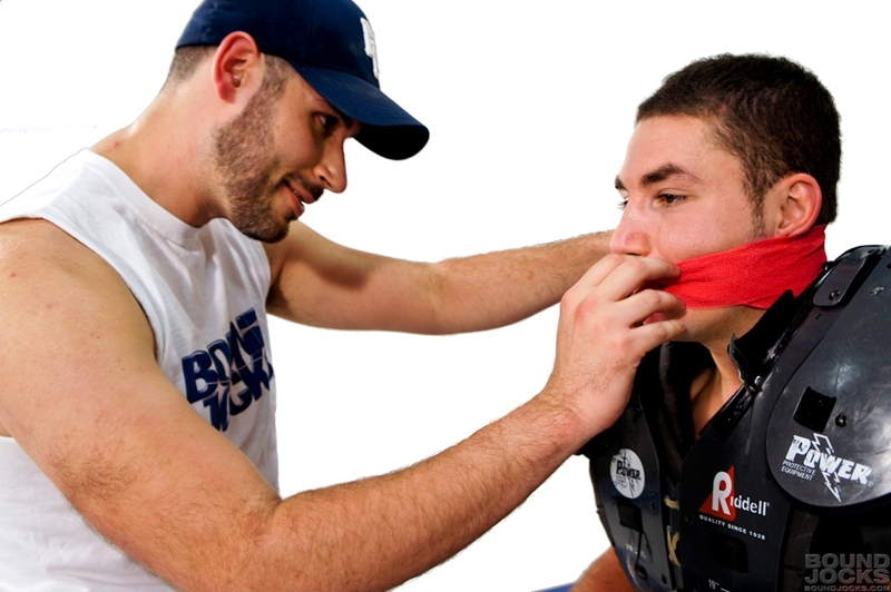 bound jocks  Knotty Brent abuses bound and gagged Marc Dylan