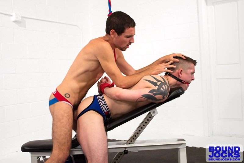 bound jocks  Elijiah Woods big cock fucks Tyler Rush hard and deep
