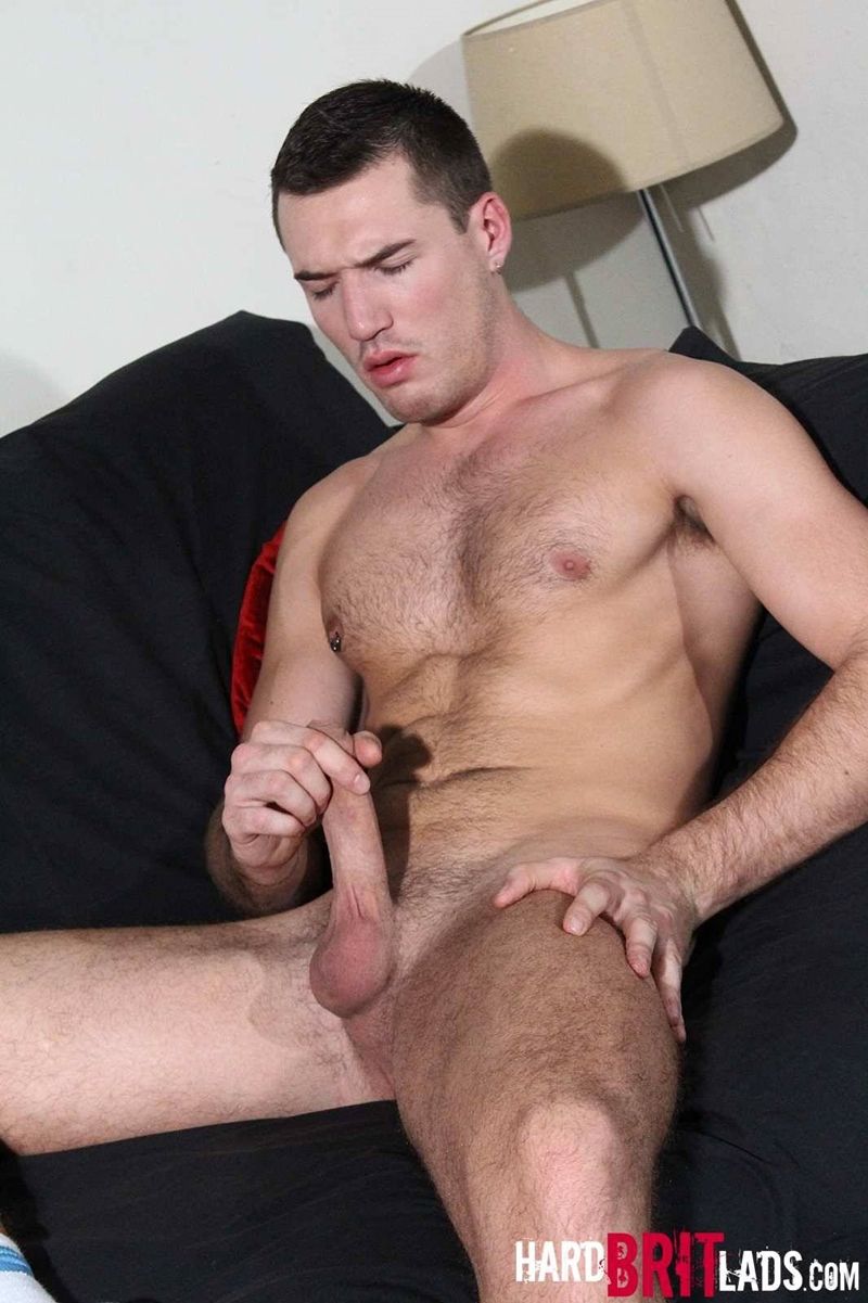 hard brit lads  Theo Ford jerks his big uncut cock