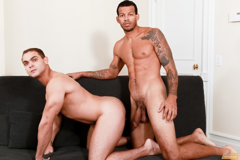 Brock Avery wraps his mouth around Mike Mann's big black throbbing dick