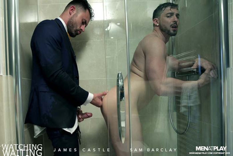 Suited muscle hunk James Castle and Sam Barclay hardcore ass fucking in the shower