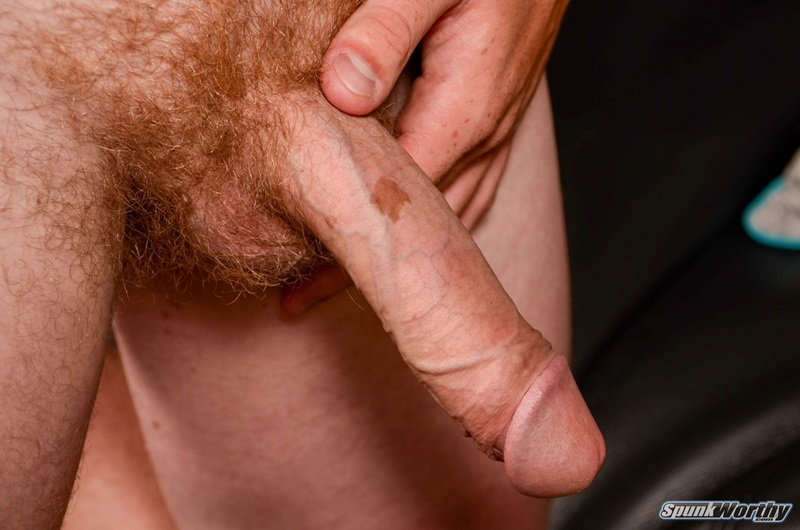 ginger pubes graham jerks his huge uncut cock to a big