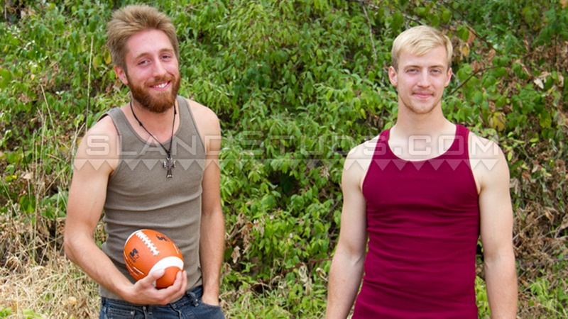 Chuck and Chris talk as they play naked football together