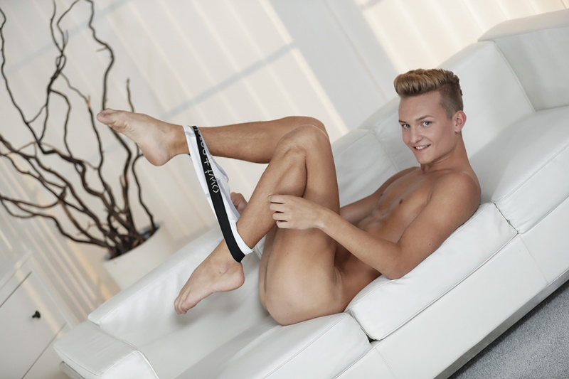 Staxus Lucas Drake's smooth asshole takes a huge uncut cock hard and deep