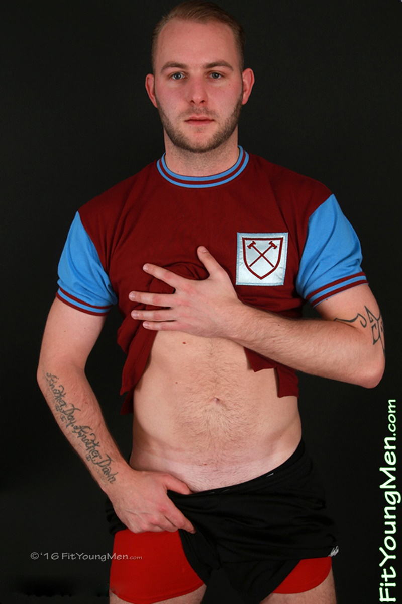 Young nude footballer Tristan Woods strips off his footie kit and shows off his sexy hard uncut dick