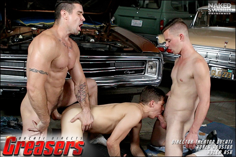 Young grease monkeys Kyler Ash and Kory Houston flip flop fucking with boss daddy Trenton Ducati