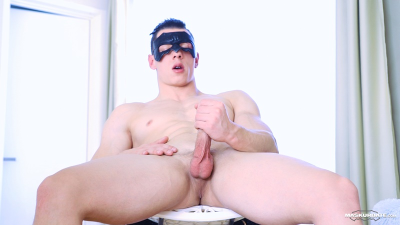 Sexy young muscle hunk Peter Lipnik strips and jerks his huge dick to a massive cum shot