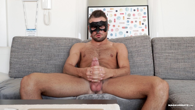 Young sexy hunk Jeffrey Lloyd strips and jerks his huge hung cock