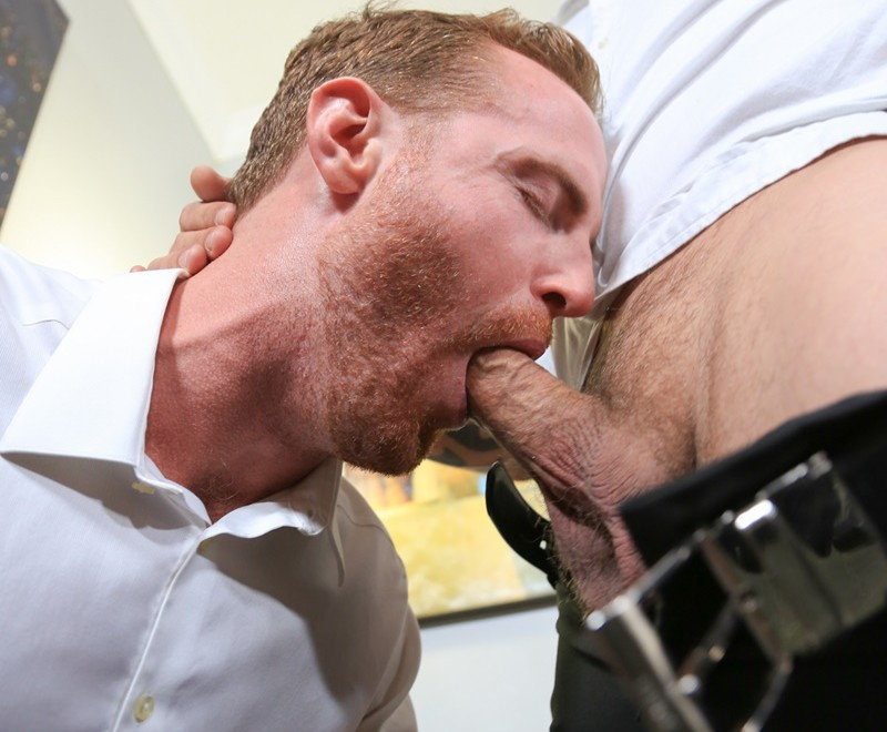 Jace Chambers rims Jack Gunther's tight asshole with his tongue prepping him for his big cock