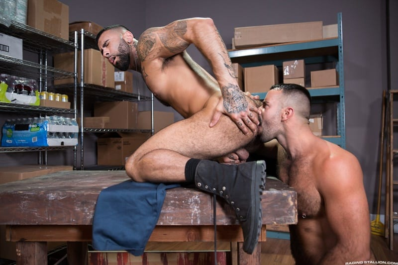 Rikk York rams his monster cock all the way into muscle stud Teddy Torres' tight muscle ass hole