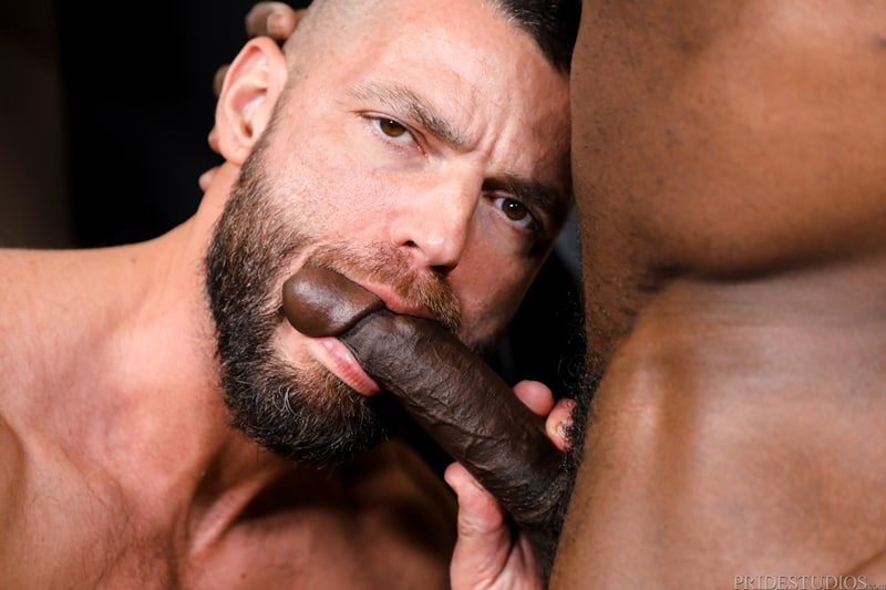 Aaron Trainer sucks Jake Morgan's huge cock before burying his tongue deep in Jake's hairy ass hole
