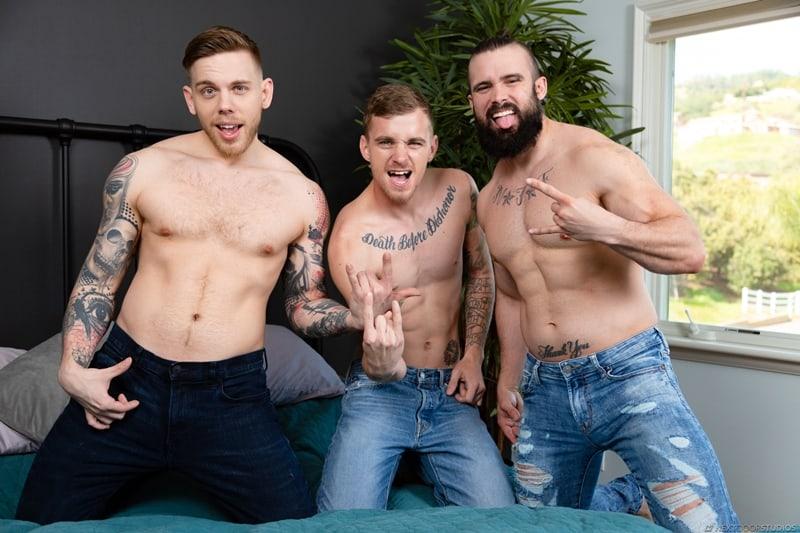 Horny ripped dudes Ryan Jordan and Mathias fucked hard Steve Rickz's big dick