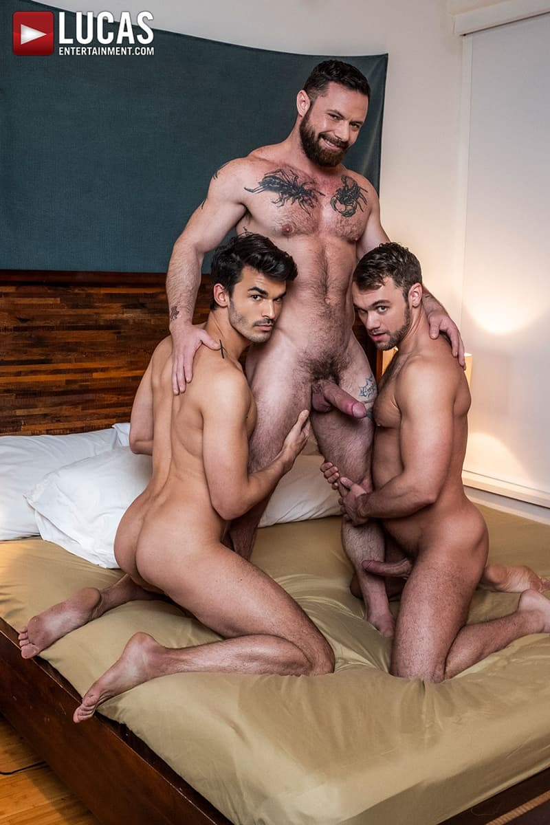 Blaze Austin double fucked by ripped muscle dudes Sergeant Miles and Aaden Starks' huge cocks