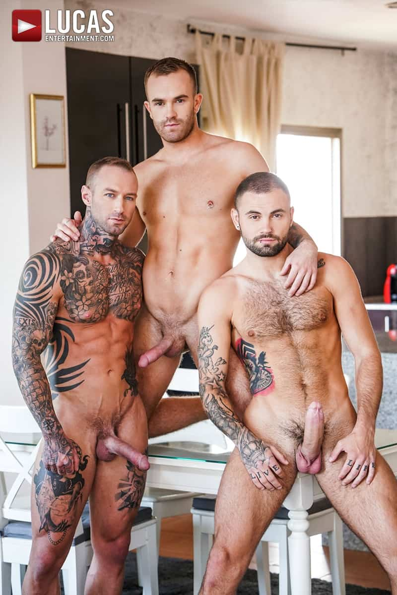 Hot muscle studs Dylan James and Jeffrey Lloyd fucking Jackson Radiz's throat and raw fucking his hot bubble ass