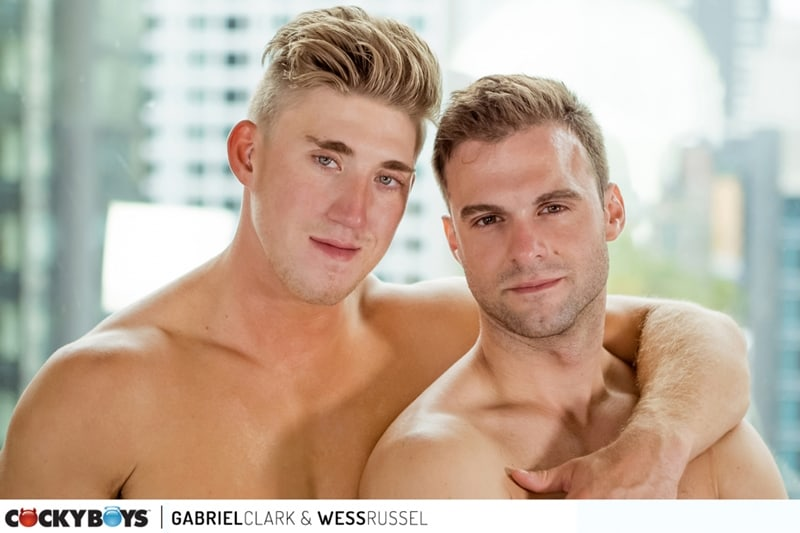 Gabriel Clark's huge cock fucks Wess Russel's hot smooth bubble butt asshole