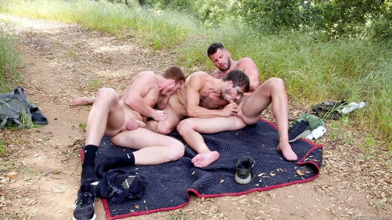 Outdoor gay threesome Dacotah Red's hot holes spit-roasted by Johnny Hill and Donte Thicks' huge dicks
