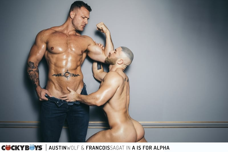 Austin Wolf rims Francois Sagat's hot ass before sliding his huge cock deep into his muscular bubble butt