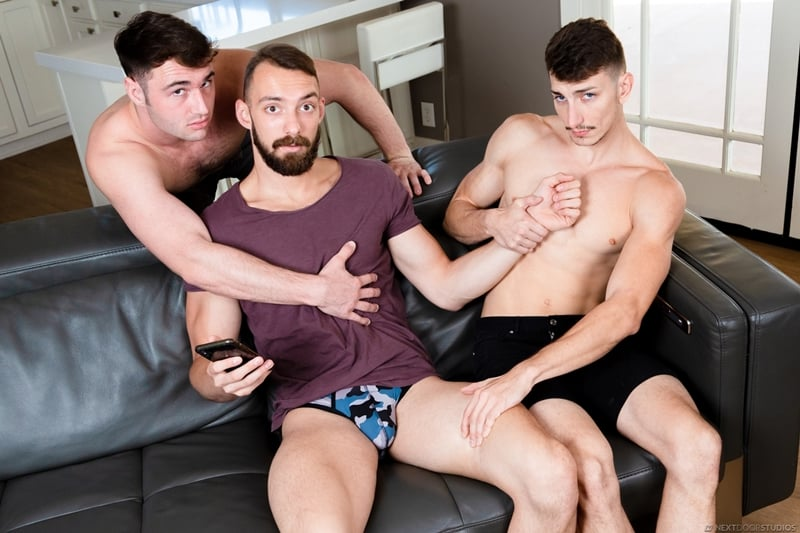 Hottie young stud Michael Boston spit-roasted by Johnny B and Michael Jackmans' huge cocks