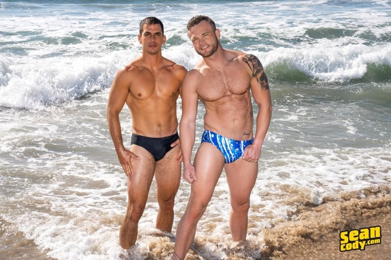 Sexy muscle dude Lachlan's huge raw dick bareback fucks Sean's hot bubble butt ass hole