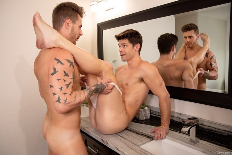 Sexy ripped muscle dude Josh Moore bareback fucking Devin Franco's hot bubble ass hole