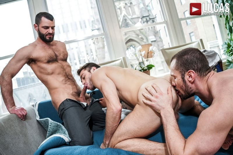 Stas Landon's huge raw cock bareback fucks Max Adonis and Jake Morgans' hot muscle asses